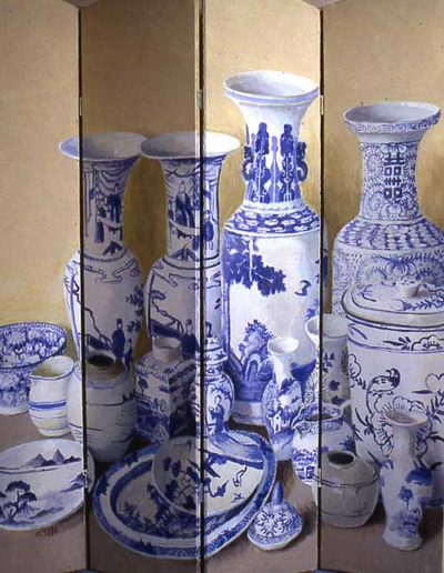 """Blue and White Pot Screen • 65"""" by 60"""" • £8500"""